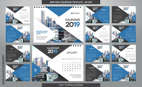Desk Calendar 2019 Template 12 Months Included A5 Size Buy