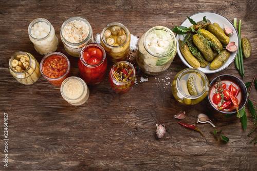Leinwanddruck Bild Different preserved vegetables
