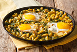 Traditional Iranian cuisine Baghali Ghatogh beans and dill with fried eggs, garlic and turmeric close-up in on a table. horizontal - 224653834