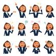 スーツを着た女性のバストアップ、様々な表情12種類。