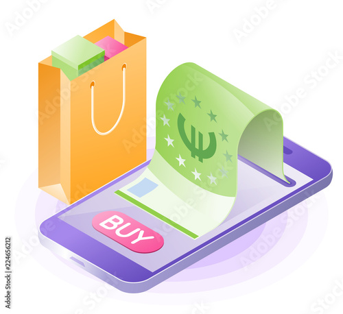The Smartphone Paper Euro Ping Bag Flat Vector Isometric Ilration Online