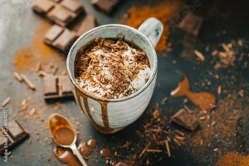 Tasty hot chocolate drink in mug