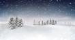 winter seasonal landscape at snowfall at evening, snowy calm nature 3D illustration render