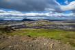 Leinwandbild Motiv A beautiful Iceland landscape in summer, hills in the background.