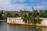 Paris, France - August 13, 2017. Paris skyline view of Latin Quarter old buildings, Pantheon and Cite island with ivy and greenery from Seine.