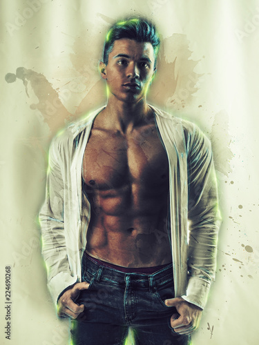 Young handsome man with muscular torso in unbuttoned shirt standing confidently in slight splashes of watercolor paint, on white background © theartofphoto