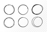 Vector set hand drawn circles using sketch drawing scribble circle lines. Doodle circular logo design elements.
