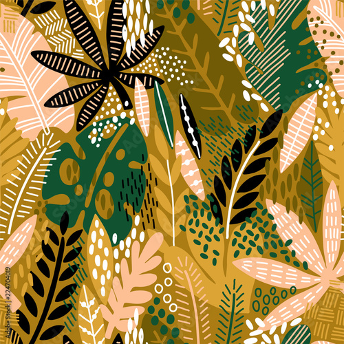 Bright tropical leaf seamless pattern. - 224704019
