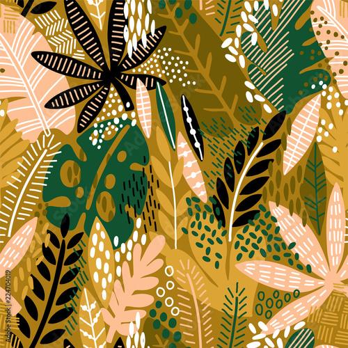 Bright tropical leaf seamless pattern. - 224704019