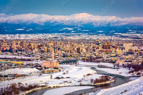 Leinwanddruck Bild Asahikawa, Japan winter cityscape in Hokkaido.