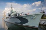 Ship museum Grom class destroyer ORP Blyskawica (Thunderbolt) in Port of Gdynia city, Poland.