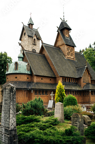 Vang stave church, medieval norwegian wooden church transferred in 19th century from Vang in the Valdres region of Norway to Karpacz in Poland.