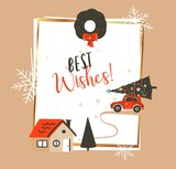 Hand drawn vector abstract Merry Christmas and Happy New Year time vintage cartoon illustrations greeting card template with red car and Xmas tree isolated on white background - 224717462
