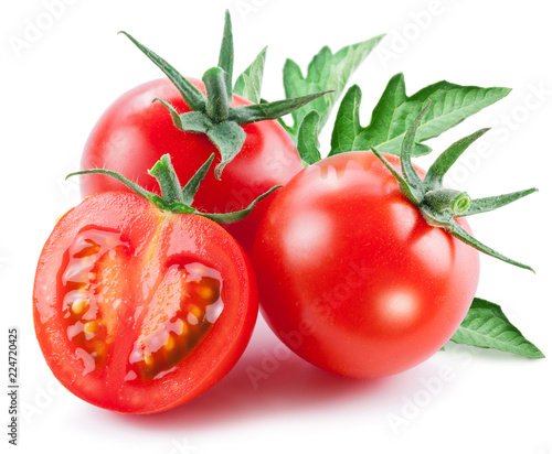 Two cherry tomatoes and a half of tomato. White background. - 224720425