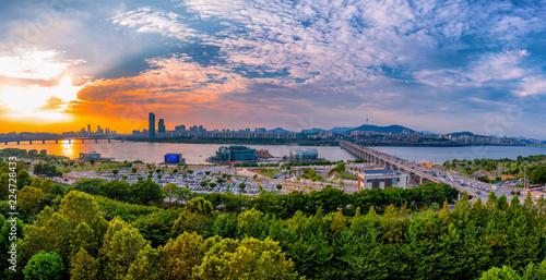 Foto Murales view of Han river and Seoul city South Korea