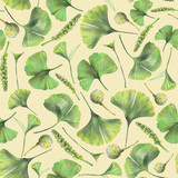 Seamless pattern with green leaves of ginkgo biloba. Hand drawn illustration with colored pencils. Botanical natural design for textiles, interior or some background. - 224731456