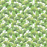 Seamless pattern with green leaves of ginkgo biloba. Hand drawn illustration with colored pencils. Botanical natural design for textiles, interior or some background. - 224731602