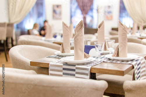 Closeup view of a table in a restaurant - 224738831