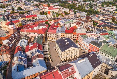 Fototapety, obrazy : Lublin z lotu ptaka. Stare miasto w Lublinie, widok z powietrza na Stary Trybunał Koronny.