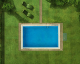 Private pool in a perfect garden top view