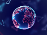 Global network concept: digital planet Earth with connection lines. Visualization of digital business technology. Planet in cyber space. World globalization. Soft blur, eps 10 vector illustration.