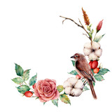 Watercolor wreath with bird and cotton. Hand painted tree border with rose, dogrose berries and leaves isolated on white background. Illustration for design, fabric or background. - 224759200