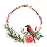 Watercolor wreath with bird and rose. Hand painted tree border with cotton, dogrose berries and leaves isolated on white background. Illustration for design, fabric or background. - 224759230