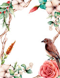 Watercolor vertical card with bird and flowers. Hand painted tree border, cotton, branch, dahlia, berries and leaves, lagurus isolated on white background. Illustration for design or background. - 224759270