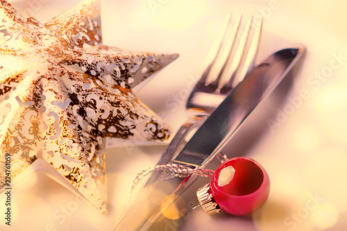 Golden Christmas table setting