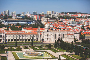The Jeronimos Monastery or Hieronymites Monastery, near the Tagus river in the parish of Belem, in the Lisbon Municipality, Portugal, summer sunny day
