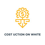 cost reduction on white icon. cost reduction on white concept sy - 224795478