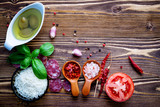 The ingredients for homemade pizza on shabby wooden background. - 224800431