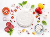 The ingredients for homemade pizza on white wooden background.. - 224801280
