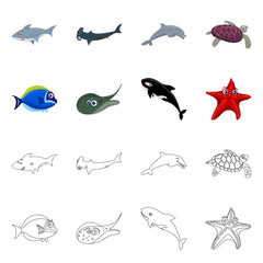 Vector illustration of sea and animal sign. Set of sea and marine stock vector illustration. © Svitlana