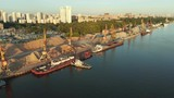 Panoramic view on river port with fleet barges anchored in water next to the river bank. Landscape with great wavy river - 224815833