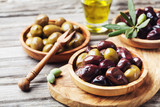 Bowls with marinated olives. Mediterranean snack or appetizer. - 224828678