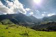 view of Pyrenees mountains with cloudy blue sky