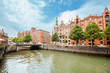 Leinwanddruck Bild - View of the Warehouses District or Speicherstadt or Hafencity in Hamburg, Germany, the largest warehouse district in the world and it is located in the port of Hamburg