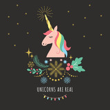 Merry Christmas or New Year greeting card with Unicorn, vector illustration on black background