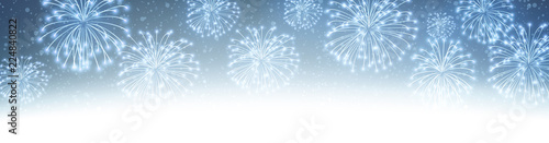 Blue shiny festive banner with fireworks.