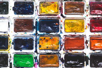 full frame image of colorful watercolor paints background