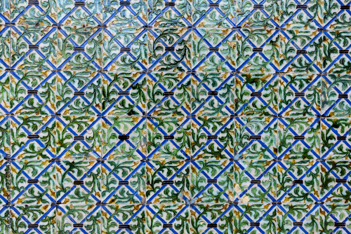 background of Arabic style tiles in Seville, Andalucia, Spain