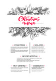 Christmas menu. Restaurant and cafe drawing template with xmas g