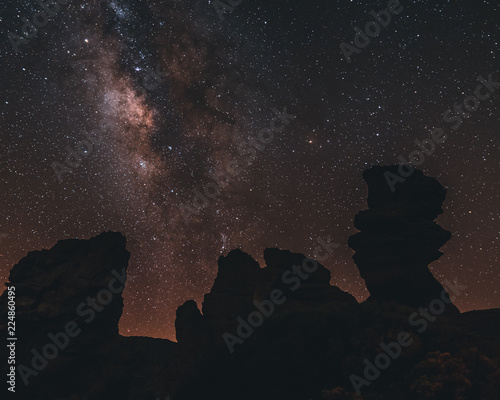 Astrophotography in Tenerife, Spain. Core of milkyway near Teide vulcano