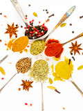 Set of spices in spoons on white background, top view. Paprika, curry, Bay leaf, anise and other seasonings, flat lay - 224861823