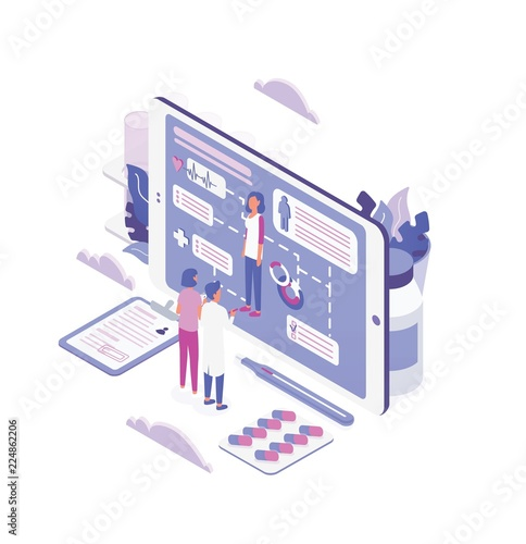 Woman and doctor standing in front of large tablet PC screen and looking through patient's health indicators. Online medical aid, internet healthcare service. Colorful isometric vector illustration.