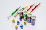 Set of Christmas fireworks. New Years eve table fireworks - 224864031