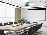 Large conference room, wooden table, chairs and projections - 224871418
