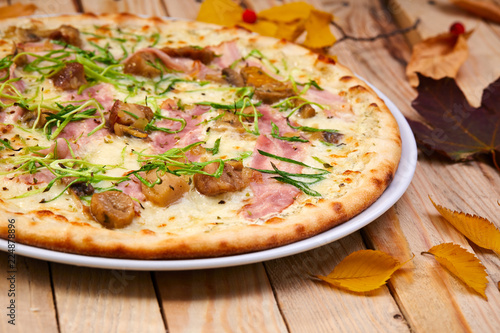 tasty pizza with bacon - 224878896