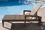 rattan sun lounger with wheels - 224887263
